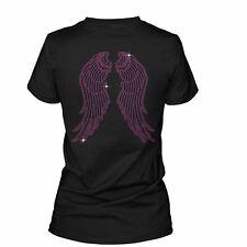 Women's Pink Angel Wings Rhinestone Diamante T-Shirt