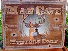 Man Cave Hunters Only Metal Sign Deer Buck Picture Rustic Cabin Lodge Bar Gift