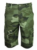 Mens KAM BIG Camo Camouflage Cargo Cotton Twill Shorts Semi Elasticated 40-60