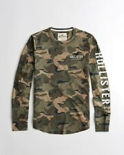 BNWT Men's Hollister Long Sleeve Tee T-shirt Top Size M, Medium Army Green Camo
