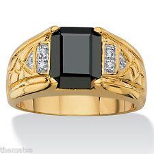 18k GOLD HEMATITE RING DIAMOND ACCENT GP SIZE 8,9,10,11,12,13,