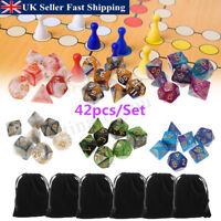 42Pcs Set Polyhedral Dice w/ 6 Bags For DND RPG MTG Role Playing Board Game UK