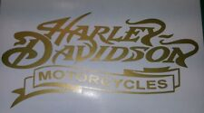 2 Stück Harley Davidson Tank Aufkleber in gold18×8 cm