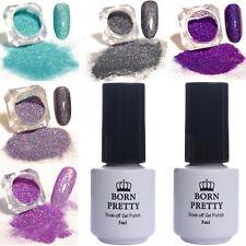 7Pcs Nail Glitter Powder Holographic No-Wipe Top Coat Base Coat UV Gel Soak off