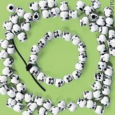 "20 Plastic Skull Beads Goth 3/8"" Cool Halloween Craft"