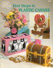 USED FIRST STEPS IN PLASTIC CANVAS TISSUE COVER CHEST BOX PATTERN BOOK