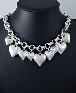 Matt Silver Romantic Puffy Heart Charms Contemporary Choker Necklace