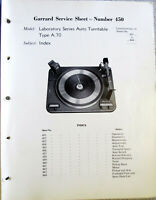 GARRARD TYPE A 70  TURNTABLE  SERVICE MANUAL ORIGINAL MANY PAGES IF USEFUL INFO