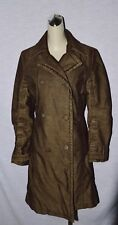 RESERVED SZ M BROWN OLIVE GREEN SHADE DOUBLE BREASTED TRENCH COAT JACKET