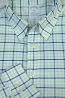 Brooks Brothers Men's White Blue Check Pinpoint Cotton Casual Shirt L Large