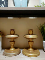 """Pair of Wood Candle Stick Holders Gold Round Base 7"""" X 5 1/4"""" FAST SHIP"""