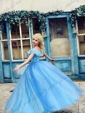 New Sandy Princess Cinderella Women Blue Dress Cosplay Costume Adult Cos US ship