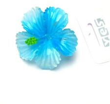 Bananenspange Haarklammer Haarspange Innenzahnung Blume blau Durchmesser 6 cm