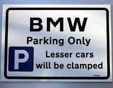 Gift for BMW car owner - Metal Faced Parking only Sign - birthday xmas present