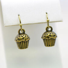 Cupcake Earrings, Antique Bronze Finish Vintage Style Charm Pendant Earring
