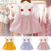 Infant Toddlet Baby Girls Short Sleeve Love Print Ruffles Princess Dress Clothes