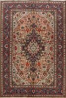 Floral Tebriz Hand-Knotted Wool Peach Area Rug 7x10 Traditional Oriental Carpet
