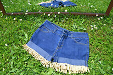Womens Vtg 90s Retro Tassel Embellish Customised Hot Pants Jeans Shorts sz M M36