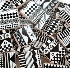 Ceramic Mosaic Tiles - Black White Stripes Swirls Checks Dots Squares Fun Tiles