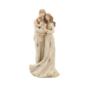 Mother, Father & Daughter Family Figurine Distressed Finish