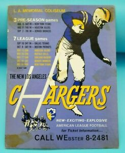 1960 LOS ANGELES CHARGERS VINTAGE SCHEDULE SIGN - WITH ORIGINAL CARDBOARD STAND