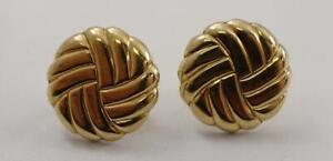"14K yellow gold ladies 3/4"" round puffy screwback earrings 3.3g"