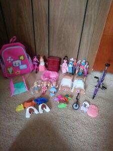 BIG lot barbie doll house accessories furniture dolls bikes backpack VINTAGE