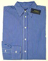 Orig $145 Polo Ralph Lauren Shirt Long Sleeve Cotton Womens Blue Striped NWT