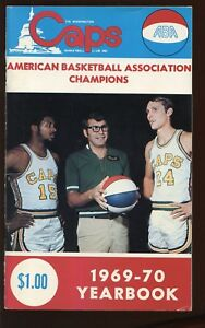 1969-70 ABA Basketball Washington Caps Yearbook / Media Guide Rick Barry cover