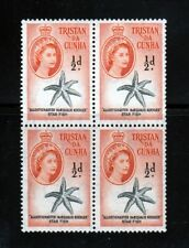 1960 MNH Sc 28 Tristan & Cunha Queen, Starfish - Blocks of 4
