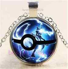 Pokemon Mew Ball Photo Cabochon Glass Dome Silver Chain Pendant Necklace