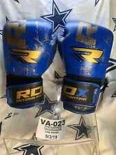 Rdx Beyond Fighting Bgx Mma Kick Boxing Muay Thai Leather Glove Gold Blue10 Oz