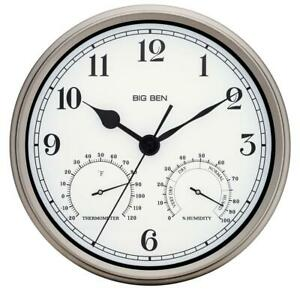 Westclox Outdoor Wall Clock Silver Finish 12 in. Round Metal Frame Thermometer