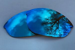 ENGRAVED POLARIZED ICE BLUE MIRRORED REPLACEMENT LENSES FOR OAKLEY HALF JACKET
