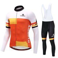 Men's Cycling Long Kit Orange Long Sleeve Bike Jersey & Padded (Bib) Pant Tights
