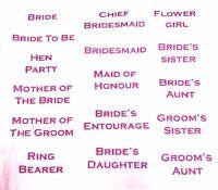 wedding transfer iron on tshirt letter patch bridesmaid fuschia pink glitter