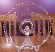 HTF Lovely Imperial Glass Candlewick Gold Mallard Etched Cupped Torte Platter