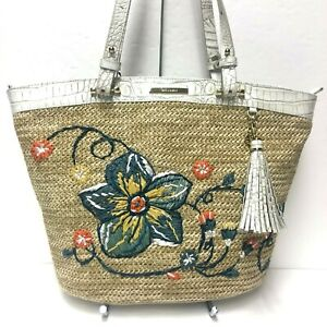 Brahmin MEDIUM Bowie Natural Dixon Tote Straw & Pearl Leather Floral NWT ~ $375