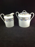 A. Lanternier A L Limoges France Porcelain Sugar Bowl and Creamer Set Vintage