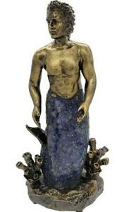 Merman Low Light Blue/Green Crackle Glass Accent Table Lamp Male/Man Mermaid