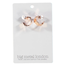 Big Metal London Corine Square Hoop Earrings Rose