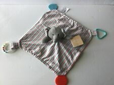 Modern Baby Elephant Teether & Rattle Security Blanket Gray/Stripes NWT