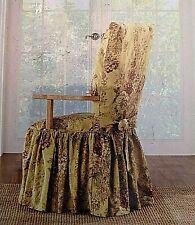 Sure Fit Ballad Bouquet dining Chair Slipcover tea stain / crimson long arm NEW