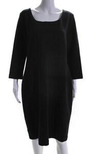Escada Womens 3/4 Sleeve Knee Length Sheath Dress Black Size 16
