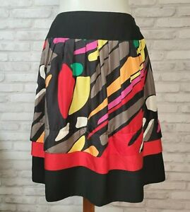 Nygard Collection size 4 P multicolor and black abstract print flared skirt