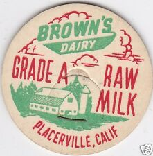 MILK BOTTLE CAP. BROWN'S DAIRY. PLACERVILLE, CA. REPRODUCTION