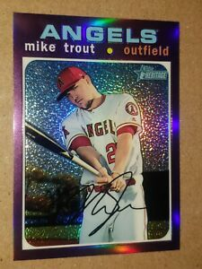 Mike Trout Los Angeles Angels 2020 Topps Heritage Purple Chrome Parallel