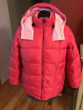 Lands'end Woman's Down Quilted Puffer  Hooded Pink Parka Jacket Sz S 6-8