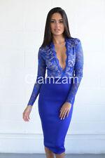 Vestiti da donna blu in pizzo con scollo a v
