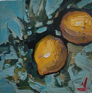 LEMON TREE OIL PAINTING BY ARTIST VIVEK MANDALIA IMPRESSIONIST FRUIT ART 8 X 8